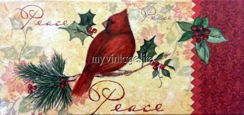 Vintage Cardinal Bird Christmas Quilting Fabric Block 3 sizes