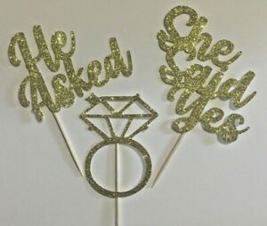 Cup-cake-Toppers-Engagement-hen-party-bridal-shower-Glitter-Pack-of-6