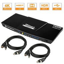 JTECH-KV41 HDMI KVM Switch 4 Ports 4K@60Hz 4:2:0 by J-Tech Digital with HDMI and USB Cables Support Quick Switch USB 2.0 Hub HotKey Push Button Wired Desktop Controller Auto Scan