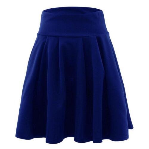 Women/'s Fashion Casual High Waist Plain Summer Pleated Short Mini Skirt