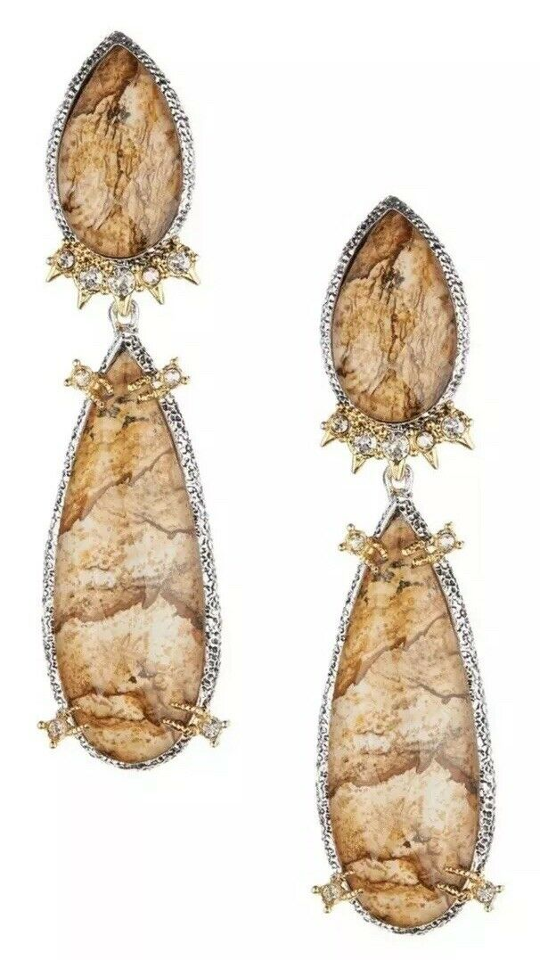 Alexis Bittar Womens Duo Teardrop Crystal Dangle Clip On Earrings 0301