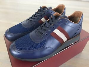 96ffaefb5f0154 700  Bally Aston Blue Marine Leather Sneakers size US 12.5 Made in ...