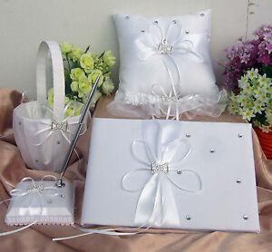 IVORY-WEDDING-GUEST-BOOK-PEN-amp-PEN-HOLDER-RING-CUSHION-FLOWER-GIRL-BASKET-GARTER