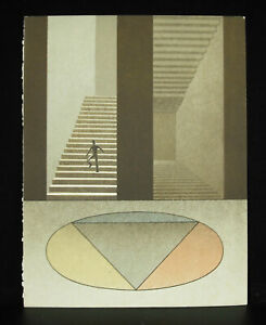 Print-Georges-Rohner-Eupalinos-Or-the-Architect-Stairs-Trompe-L-039-Oeil-1971