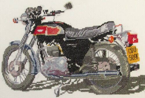 Triumph Bonneville motorbike counted cross stitch kit or chart 14s aida