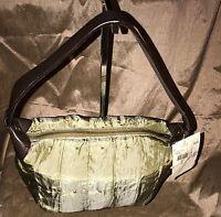 J Jill Sage Green W/leather Accents Zip Close Top Handle Purse Shoulder Bag