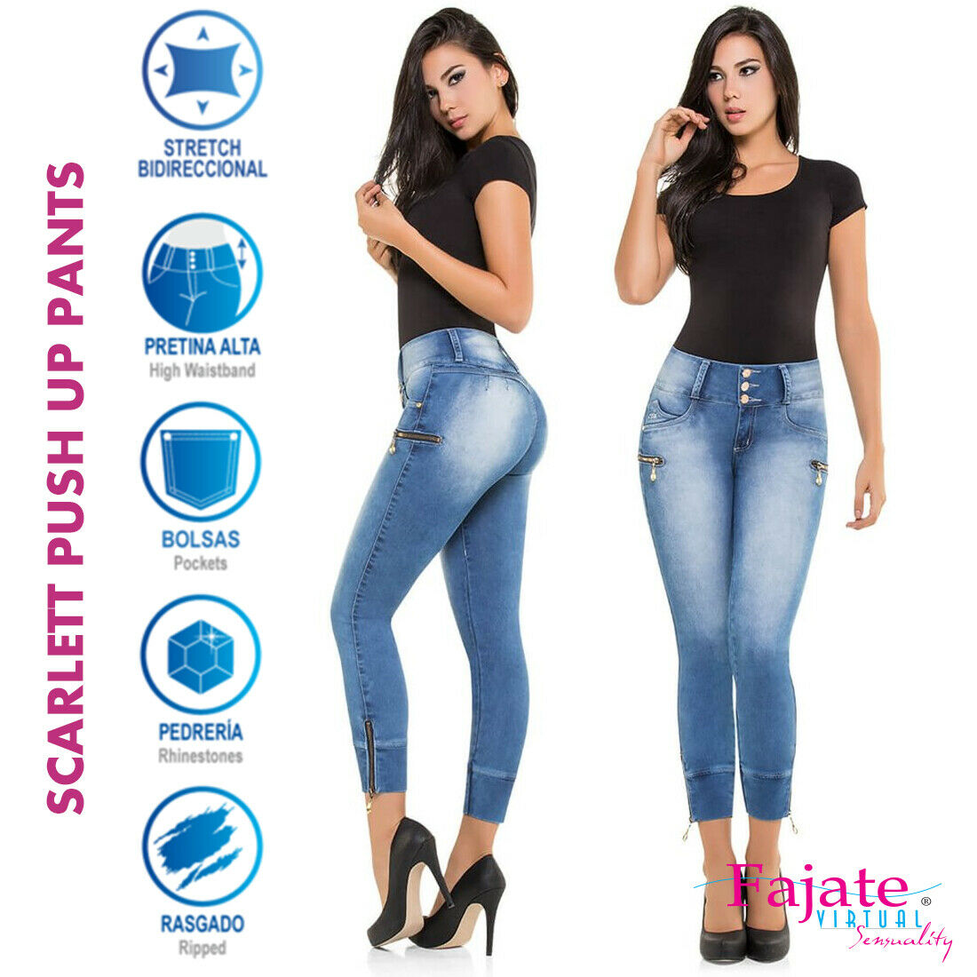 Colombian High Waistband Molding Jeans Push Up Jeggings Butt Lifter Pants Cysm