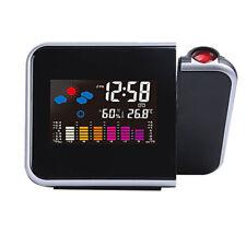 Digitaler LCD Wecker mit Uhrzeit Projektion farbiges Display Temperatur Wetter