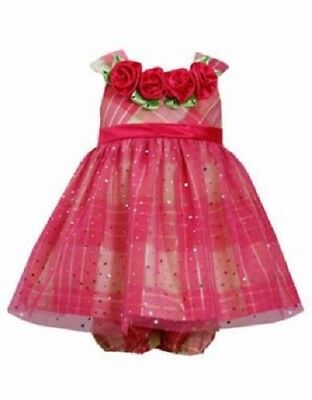 BONNIE JEAN BABY® 12M 24M Pink Plaid /& Rosette Lurex Dress NWT