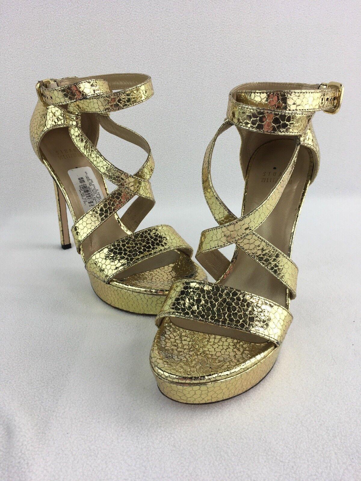 Stuart Weitzman Streamer Oro Shatter Nappa Platform Heel Sandals Size 8M  D2860/