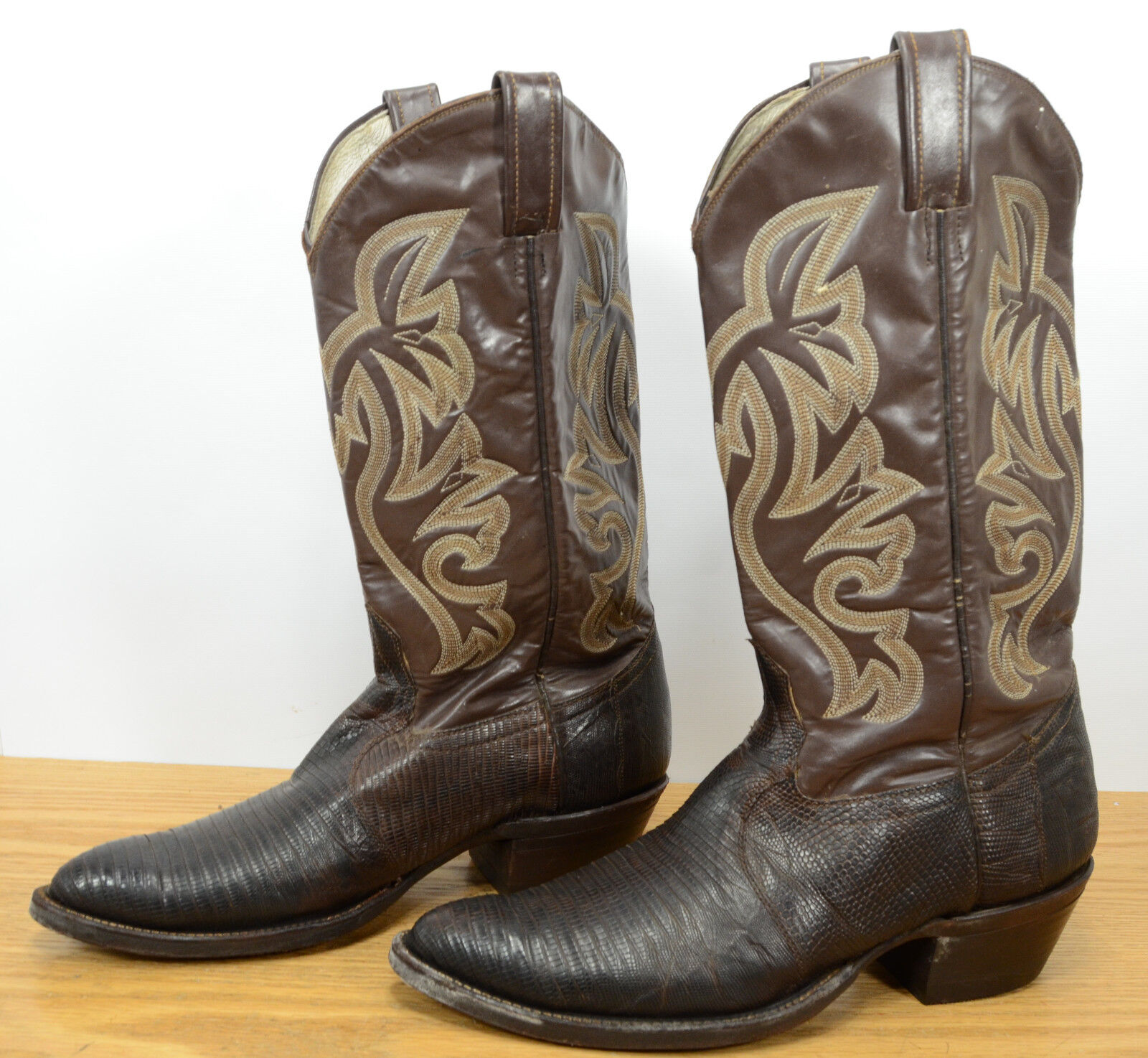 Vtg Mens Sz 10 D Lizard Skin Brown Leather Western Cowboy Rodeo Ranch Boots