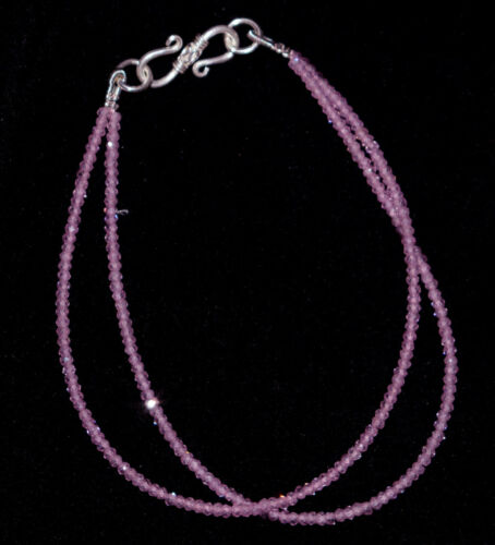 """Details about  /Pink Zircon Cut 2 mm Beads 925 Sterling Silver Bracelet 8/"""" 2 Layer Strand HNBG11"""