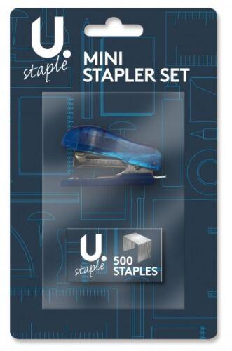 Small Mini Blue Stapler Set 500 Staples Durable Set Office Home School P2375