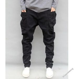 684c1a1914e4 New Stylish Mens Casual Harem Trousers Baggy Pants Drop Crotch Black ...
