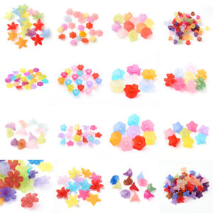 Transparent-Acrylic-Flower-Beasd-Frosted-Loose-Beads-Caps-Beading-Craft-19-Style