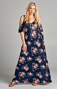 PLUS SIZE ROMANTIC NAVY BLUE FLORAL FEMININE OPEN SHOULDER MAXI ...