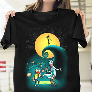 Rick-and-Morty-Portal-Nightmare-Before-Christmas-T-Shirt-Black-Cotton-Men-S-6XL