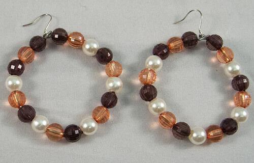 "Handmade Beautiful Stylish Earrings - Brown And Pearl Beads Hoop 2"" Hook Alloy"