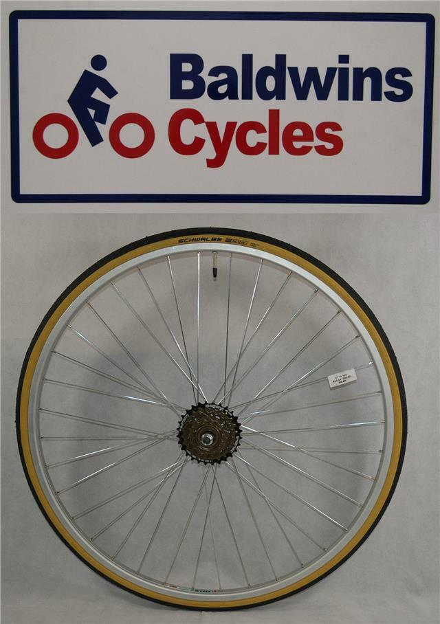 27  x 1 1 4 REAR Bike Wheel + Premium Amber Wall Tyre & 6 Speed FreeWheel