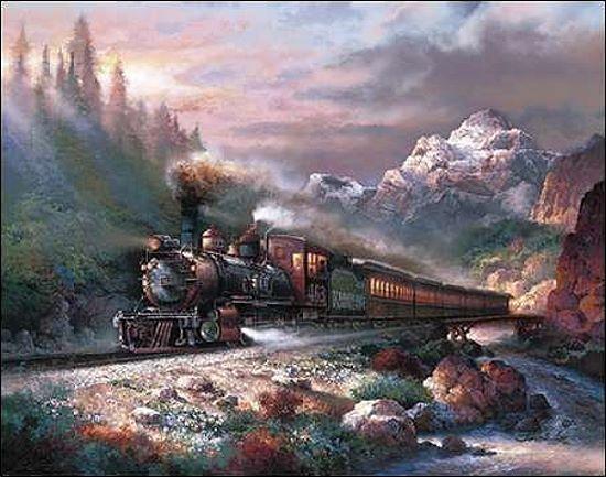 James Lee Canyon Railway Keilrahmen-Bild Leinwand Dampflok Vintage Berge