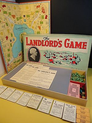 RARE 1939 The LANDLORD'S GAME Parker Bros Vintage Board Complete ...