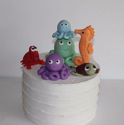 Fondant Octopus Under Sea Creatures Decoration Sugar Cake ...