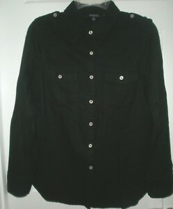NEW-NWT-CHADWICKS-AWESOME-BLACK-MILITARY-STYLE-LS-SHIRT-TOP-S-M