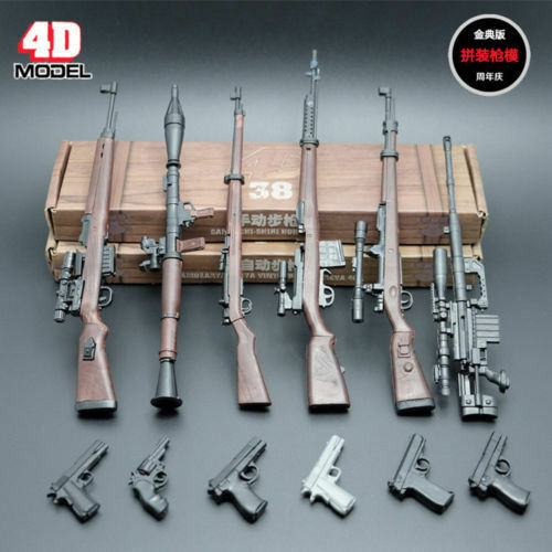"1//6 Scale 6pcs 4D Rifle Assembly Weapon Model Set Gun Toy Fit 12/"" Figure Body"