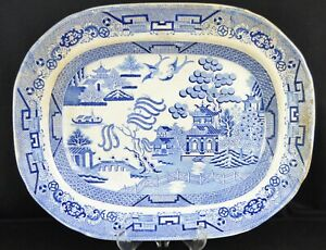 Large-Staffordshire-Antique-Blue-amp-White-Transferware-Willow-Pattern-Meat-Plate