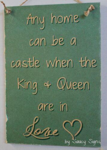 King Queen Castle Romantic Love Sign Decor Rustic Wooden  home Housewarming Bar