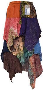 3-Layer-Long-Cotton-Floral-Elastic-Waist-Stonewash-Boho-Casual-Hippy-Skirt-Tutu