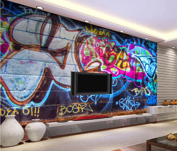 3D Blau Letters Graffiti 85 Wallpaper Mural Paper Wall Print Wallpaper Murals UK