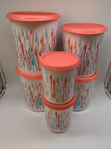 Tupperware One Touch Canisters Set Of 4 in White w/ Black