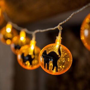 Halloween String Lights Indoor : 15 LED Orange & Black Cat Indoor Halloween Fairy String Lights Party Decoration eBay