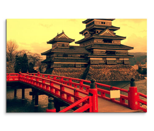 120x80cm Leinwandbild auf Keilrahmen Asien Japan Matsumoto Castle Schloss