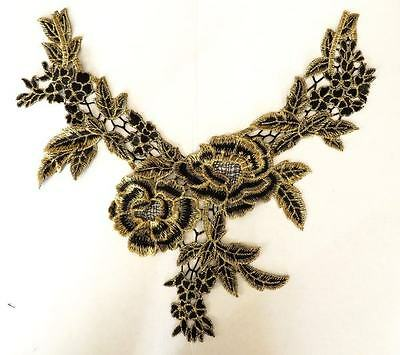 Bright gold and black guipure lace embroidered neck trim applique, 1 piece