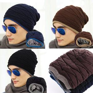 Homme-Femme-Crochet-Tricot-Laine-Chapeau-Mode-Bonnet-Baggy-Beret-Hiver-Chaud