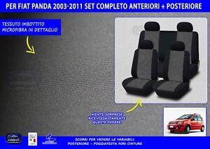 Coprisedili-auto-Fiat-Panda-2003-gt-2011-set-Copri-sedile-fodere-auto-grigio-kit