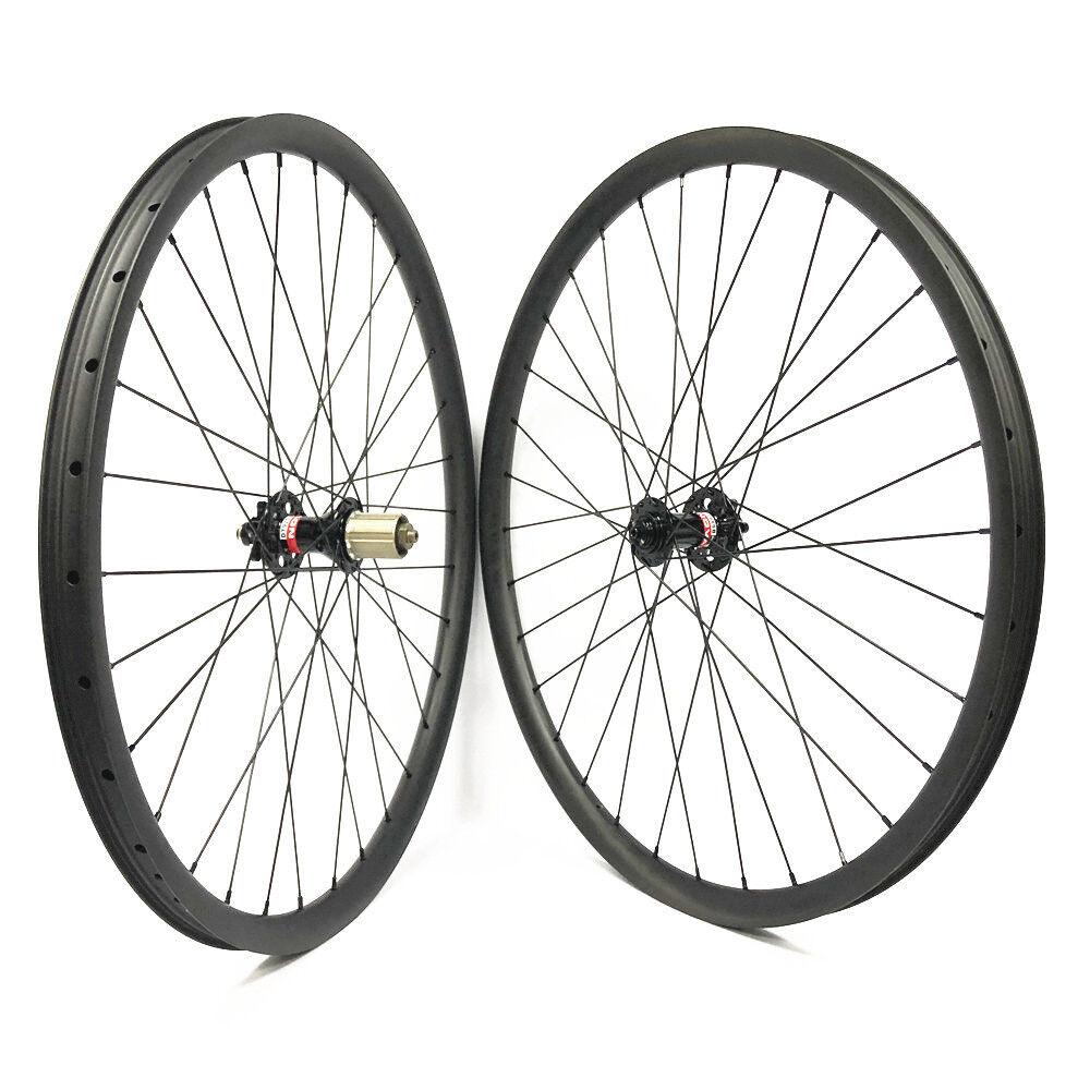 29er MTB carbon wheels Asymmetrical 30mm wide mountain bike wheelset Novatec hub