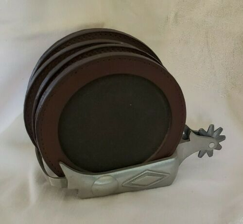 Silvertone Metal Cowboy Spur Holder w// 4 Round Brown Leather Drink Cup Coasters