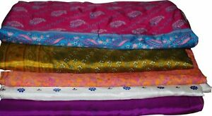 Free Shipping Vintage Indian Traditional Floral Printed 100/% Pure Silk Saree Multi color Dress Making Used Art Deco Craft Fabric Sari PS2810