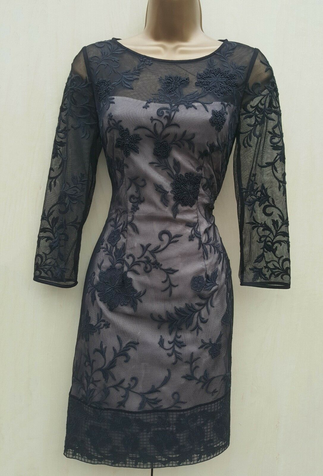 Taglia 10 UK KAREN MILLEN Nero Maglia Floreale Ricamato Ricamato Ricamato Con Perline Party Mini Dress 064673