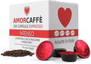 Amorcaffe 100 Lavazza A Modo Mio Compatible Coffee Capsules Pods - Intenso Tast