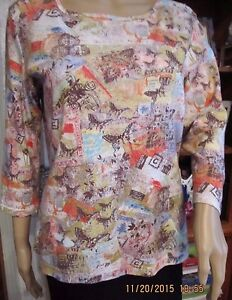 NICE-CHICOS-WASHABLE-COTTON-LONG-SLEEVED-CORAL-BROWN-GREENBLUE-KNIT-TOP-SZ-S