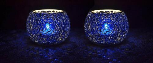 Cracked Mosaic Blue Glass Tealight Candle Holder For Lighting /& Decoration