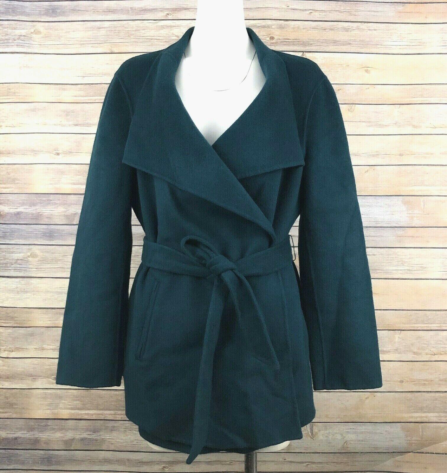 J. Jill Wool Angora Rabbit Hair Blend Coat Jacket SZ L Teal Solid Belted Pockets