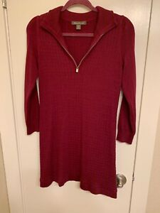 NWOT-Tommy-Bahama-Womens-Sweater-Dress-Sz-Small-P-Maroon-1-4-Zip-Cotton-Blend