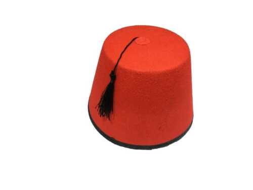 1 X Erwachsene Rot Fez Tarboosh Hut Tommy Cooper Türkisch Kostüm QR19