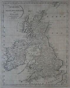 Original-1808-Jedidiah-Morse-Map-ENGLAND-SCOTLAND-IRELAND-WALES-Dublin-London
