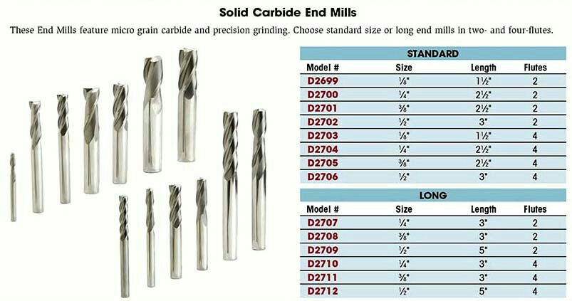 Steelex D2705 Solid Carbide End Mill 3//8-Inch by 4 Flutes